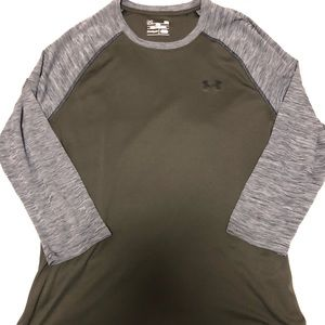 Under Armour Olive Green with 3/4 Grey Sleeve